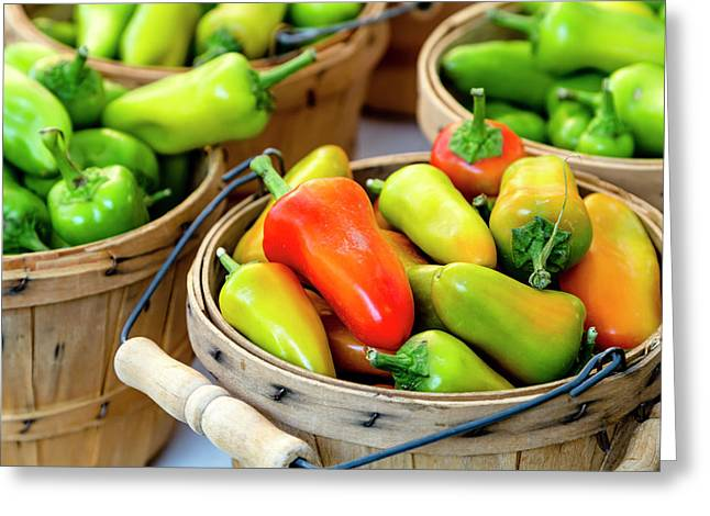 Colorful Peppers Greeting Card by Teri Virbickis