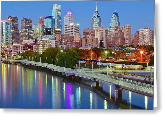 Colorful Philly Lights Greeting Card by Frozen in Time Fine Art Photography