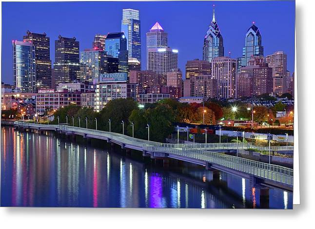 Greeting Card featuring the photograph Colorful Philly Night Lights by Frozen in Time Fine Art Photography
