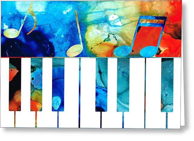 Colorful Piano Art By Sharon Cummings Greeting Card