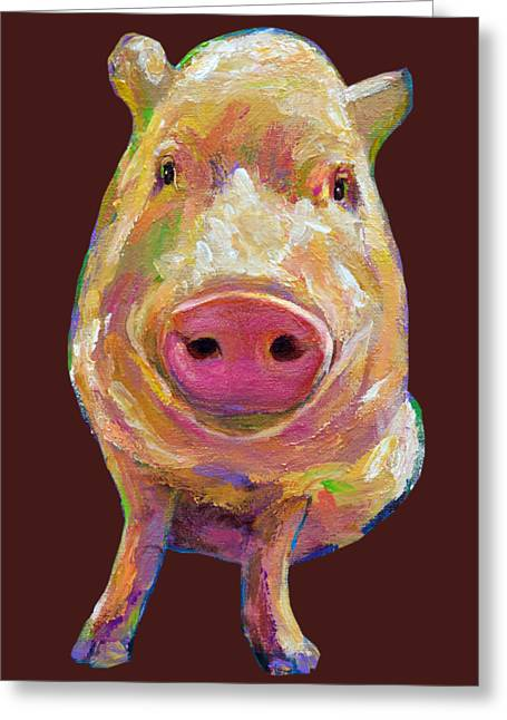 Colorful Pig Painting Greeting Card
