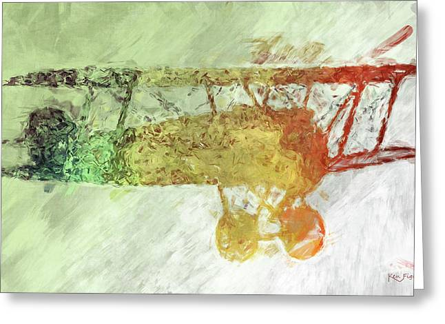 Colorful Plane Art Greeting Card by Ken Figurski