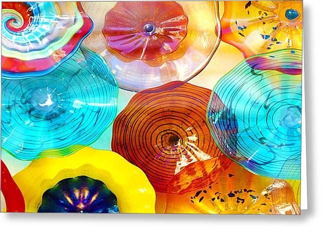 Colorful Plates Greeting Card by Artist and Photographer Laura Wrede