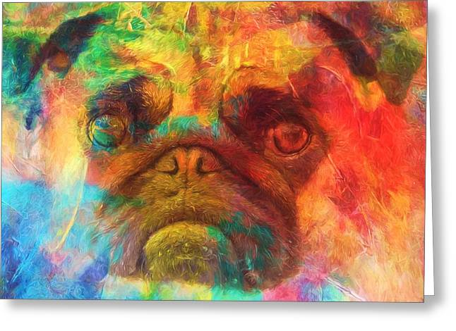Colorful Pug Greeting Card by Dan Sproul