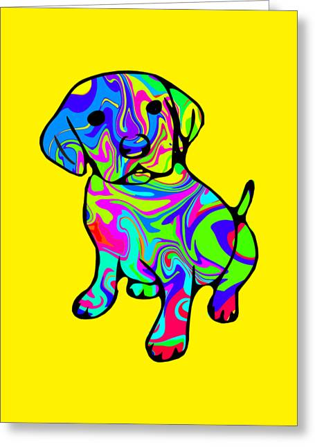 Colorful Puppy Greeting Card by Chris Butler