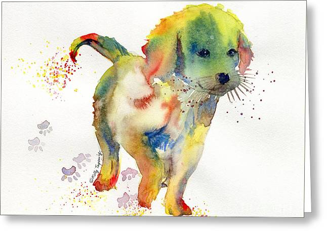 Colorful Puppy Watercolor - Little Friend Greeting Card by Melly Terpening
