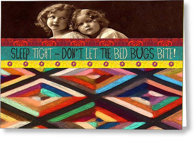 Colorful Quilt Little Girls Sleep Quote  Greeting Card by Rebecca Korpita