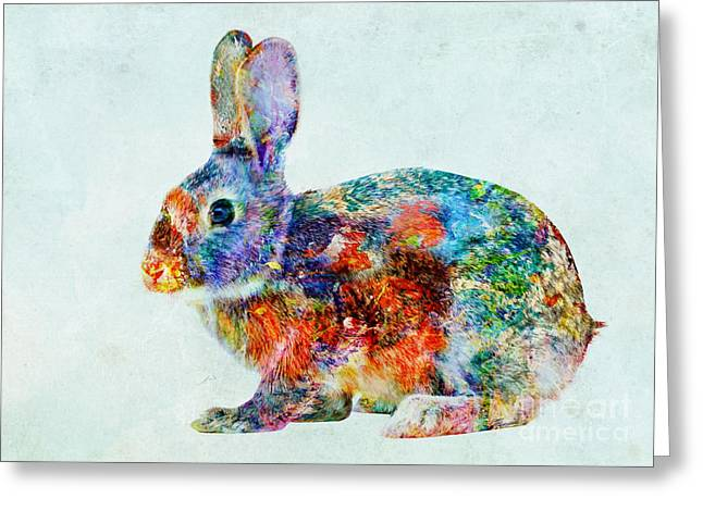 Colorful Rabbit Art Greeting Card