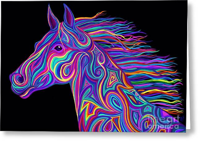 Colorful Rainbow Stallion  Greeting Card