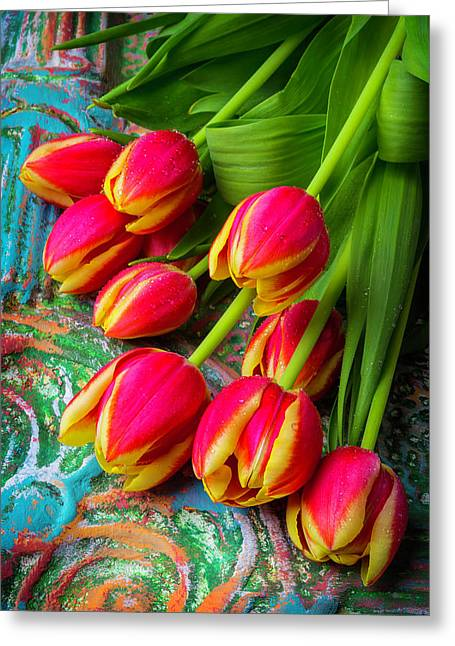 Colorful Red And Yellow Tulips Greeting Card by Garry Gay