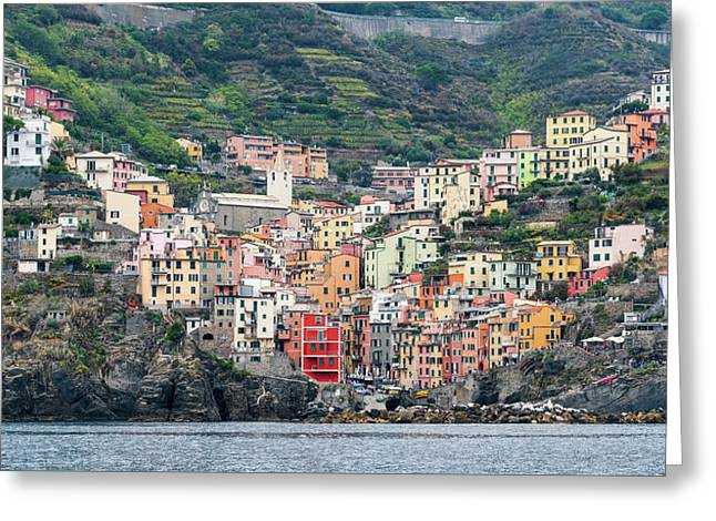 Greeting Card featuring the photograph  Colorful Riomaggiore Village At Cinque Terre, Italy by Michalakis Ppalis