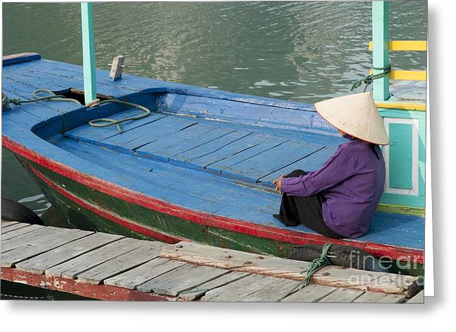 Colorful River Boat And Woman Greeting Card