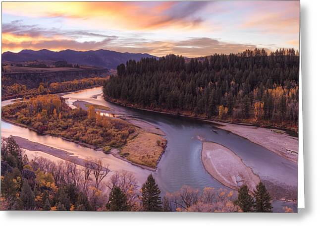 Colorful River Sunrise Greeting Card