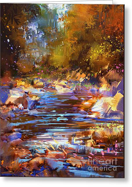 Greeting Card featuring the painting Colorful River by Tithi Luadthong