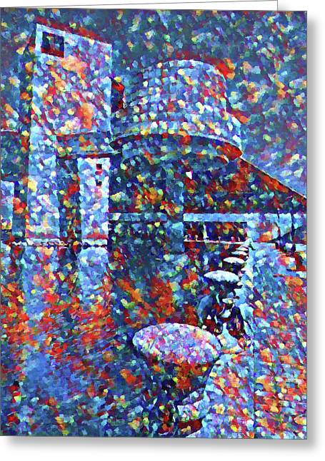 Greeting Card featuring the painting Colorful Rock And Roll Hall Of Fame Museum by Dan Sproul