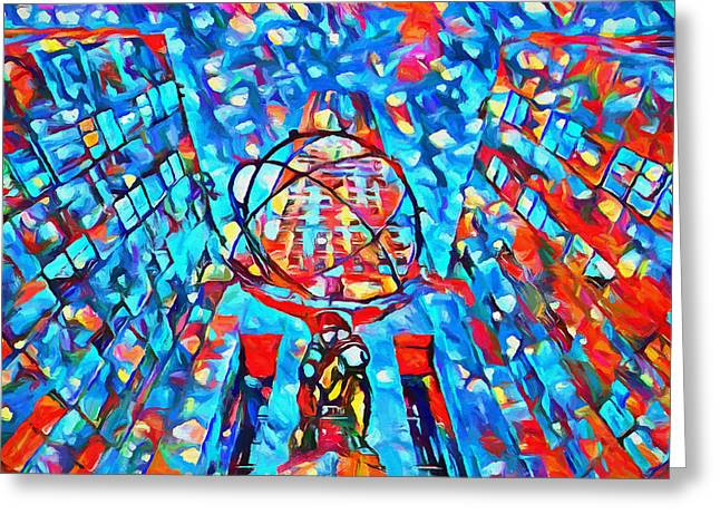 Colorful Rockefeller Center Atlas Greeting Card by Dan Sproul