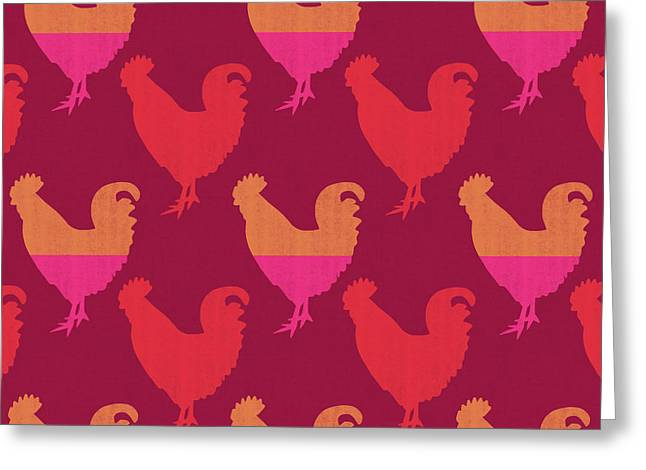 Colorful Roosters- Art By Linda Woods Greeting Card by Linda Woods