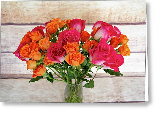 Colorful Rose Bouquet Greeting Card