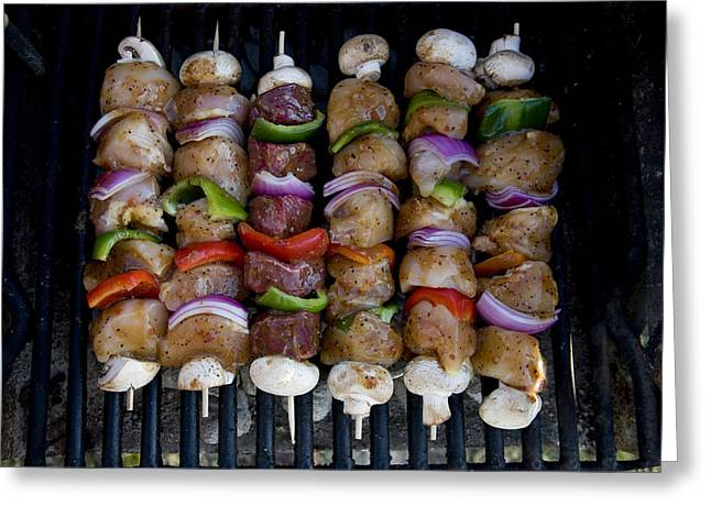 Colorful Rows Of Shishkabobs Cook Greeting Card by Stephen St. John