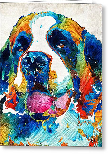Colorful Saint Bernard Dog By Sharon Cummings Greeting Card