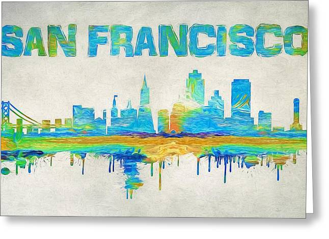 Colorful San Francisco Skyline Silhouette Greeting Card by Dan Sproul