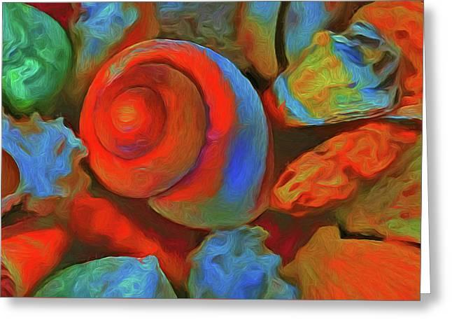 Colorful Sea Shells Greeting Card by Georgiana Romanovna