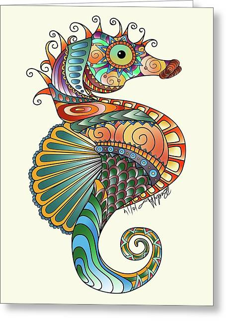 Colorful Seahorse Greeting Card by Becky Herrera