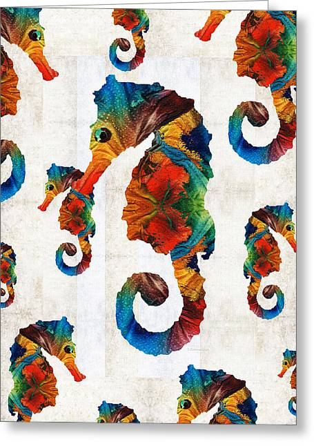 Colorful Seahorse Collage Art By Sharon Cummings Greeting Card