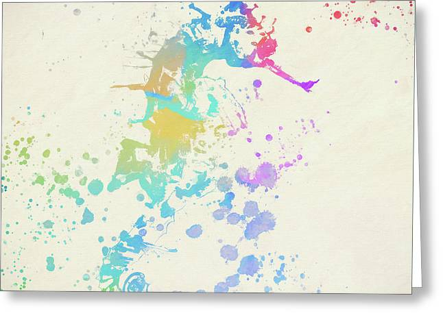 Colorful Seahorse Greeting Card by Dan Sproul