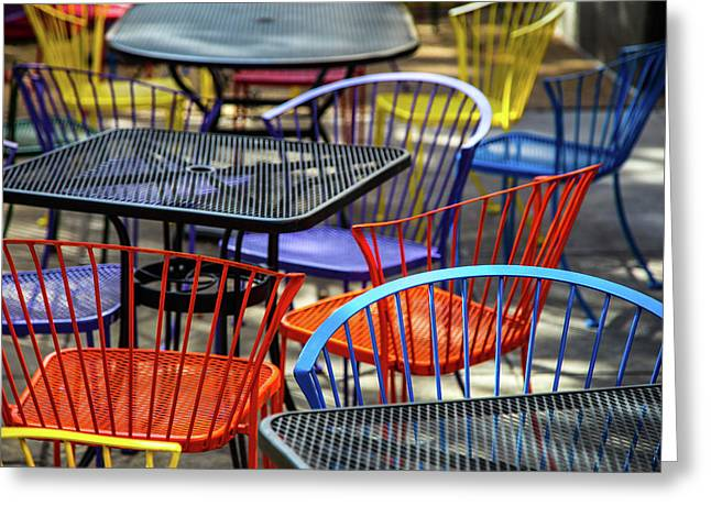 Colorful Seating Greeting Card by Karol Livote