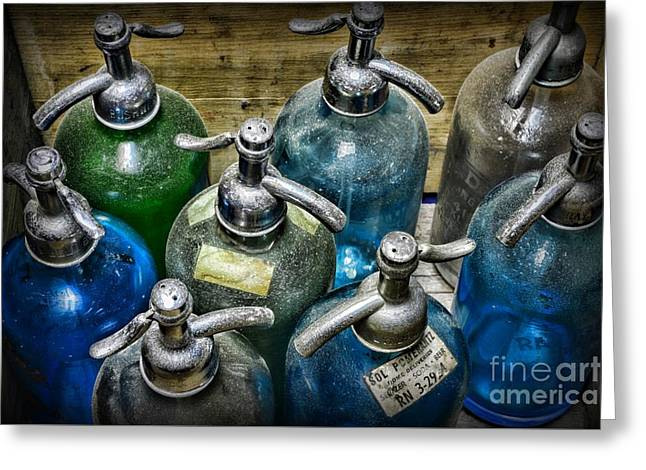 Colorful Seltzer Bottles Greeting Card by Paul Ward