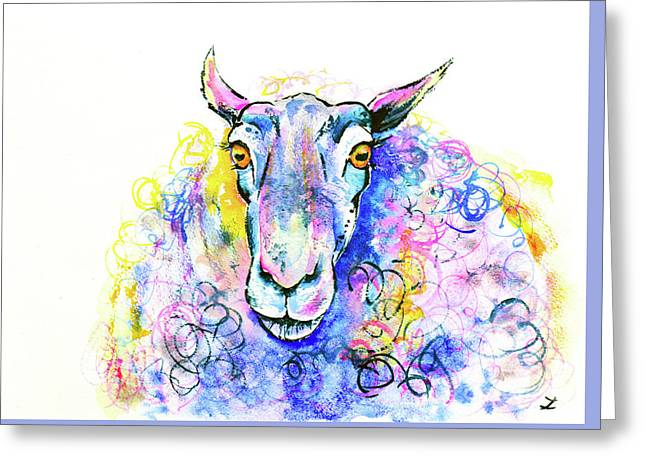 Greeting Card featuring the painting Colorful Sheep by Zaira Dzhaubaeva