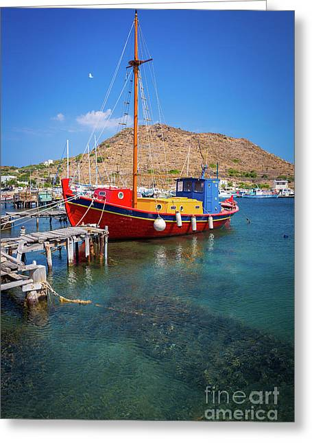Colorful Ship Greeting Card by Inge Johnsson