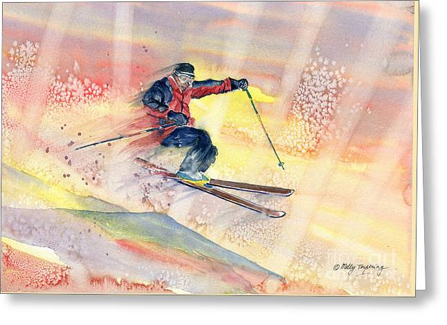 Colorful Skiing Art Greeting Card by Melly Terpening
