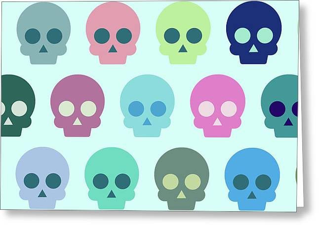 Colorful Skull Cute Pattern Greeting Card by Amir Faysal