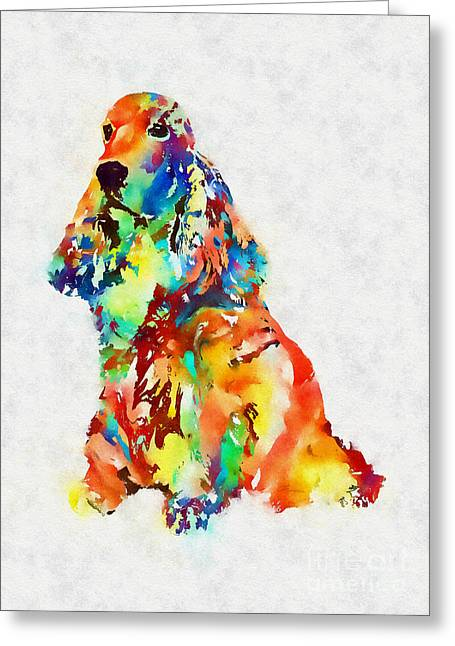 Colorful Spaniel Greeting Card