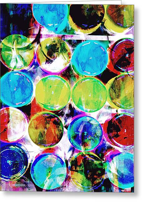 Colorful Spotty Abstract Greeting Card by Tom Gowanlock