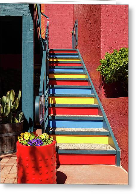 Greeting Card featuring the photograph Colorful Stairs by James Eddy