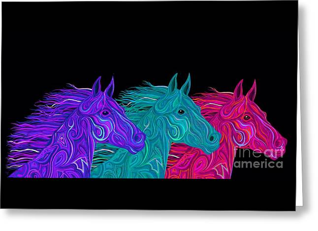 Greeting Card featuring the drawing Colorful Stallions  by Nick Gustafson
