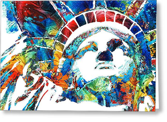 Colorful Statue Of Liberty - Sharon Cummings Greeting Card by Sharon Cummings