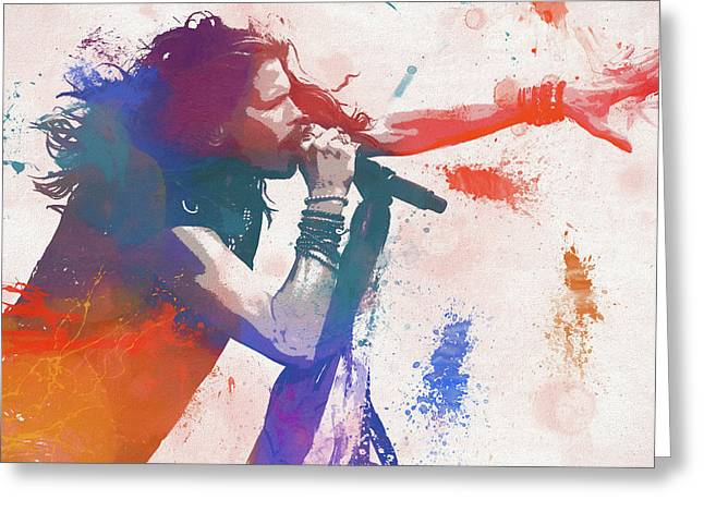 Colorful Steven Tyler Paint Splatter Greeting Card