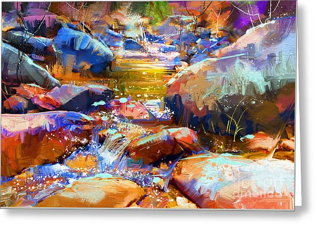 Greeting Card featuring the painting Colorful Stones by Tithi Luadthong