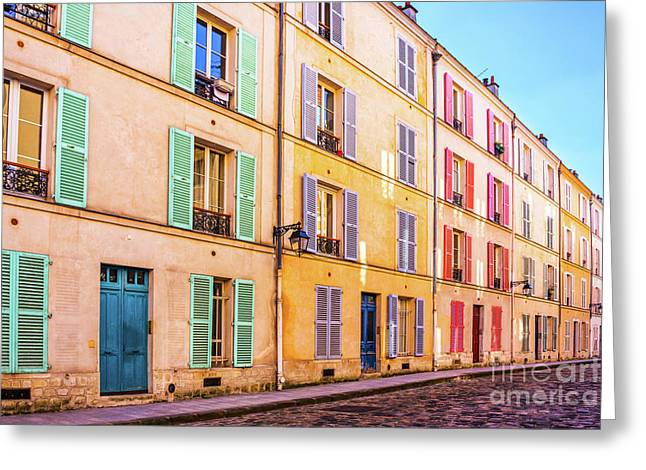 Colorful Street In Paris Greeting Card
