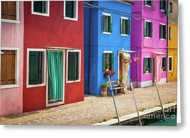 Colorful Street Greeting Card by Inge Johnsson
