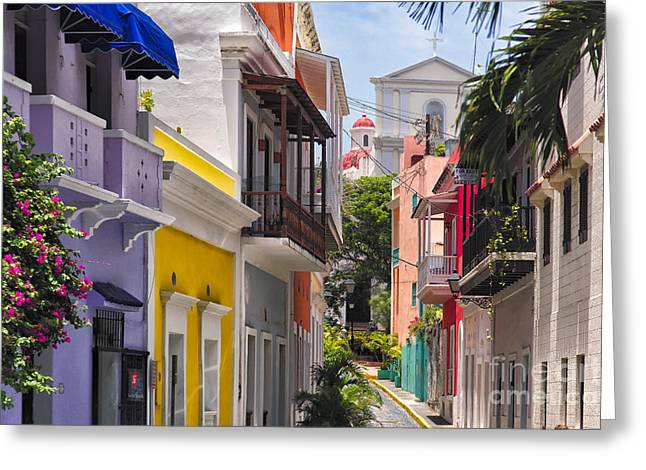 Colorful Street Of Old San Juan Greeting Card by George Oze