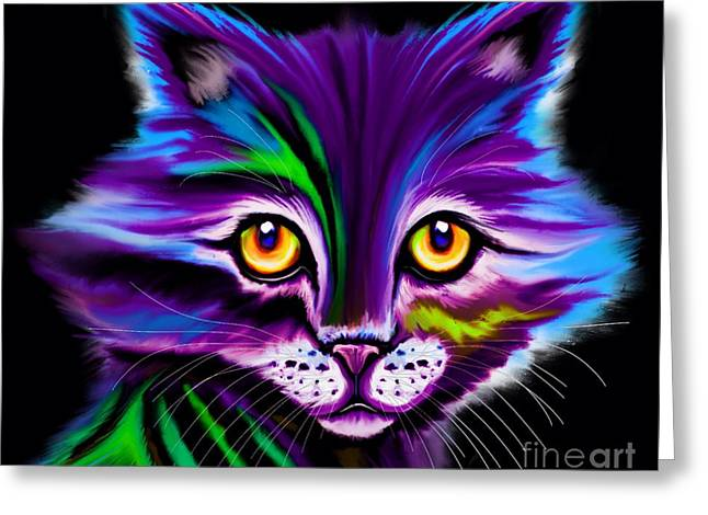 Colorful Striped Cat Greeting Card by Nick Gustafson