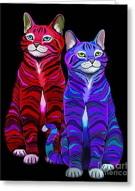 Colorful Striped Cats Greeting Card by Nick Gustafson