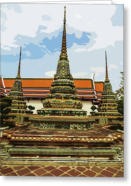 Colorful Stupas At Wat Pho Greeting Card