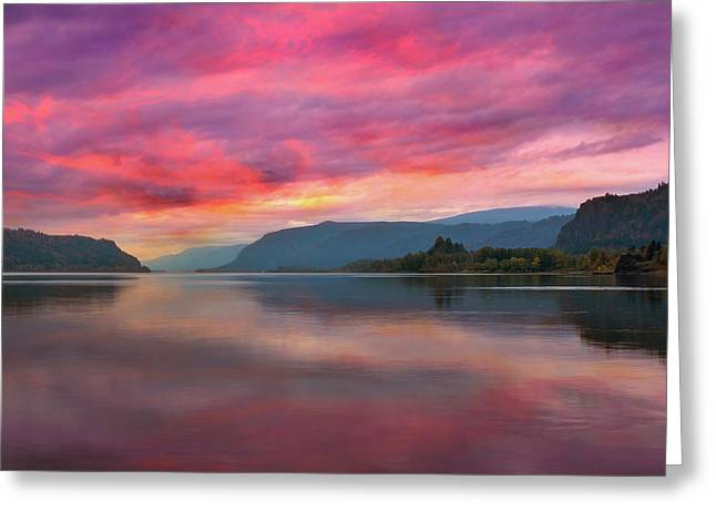 Colorful Sunrise At Columbia River Gorge Greeting Card by David Gn