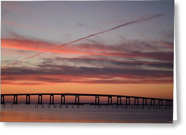 Colorful Sunrise Over Navarre Beach Bridge Greeting Card